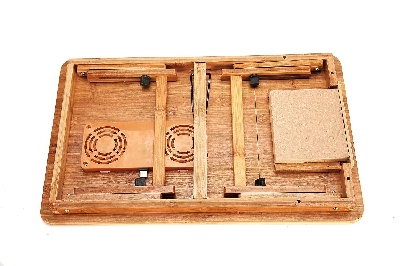 freequen Laptop Schreibtisch Verstellbare Laptop Schreibtisch Tisch 100/% Bambus Faltbare Fr/ühst/ück Servieren Bett-Tablett W Schublade