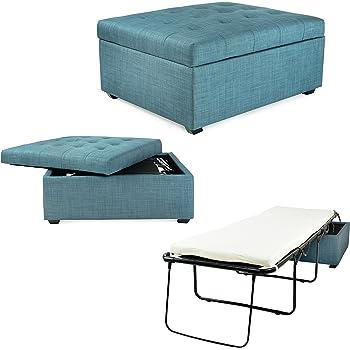 handy living space saving folding ottoman sleeper guest bed caribbean blue twin. Black Bedroom Furniture Sets. Home Design Ideas