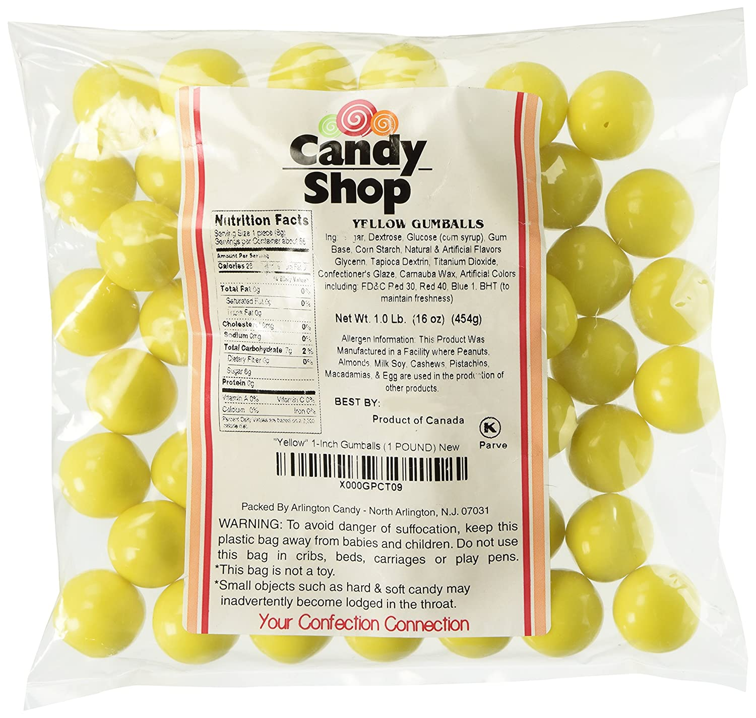 Candy Shop Yellow 1-Inch Gumballs (1 POUND)