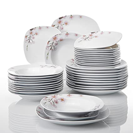 VEWEET 36-Piece Porcelain Dinnerware Sets Ceramic Plate Sets Flower Patterns Soup Plates Service  sc 1 st  Amazon.com & Amazon.com: VEWEET 36-Piece Porcelain Dinnerware Sets Ceramic Plate ...