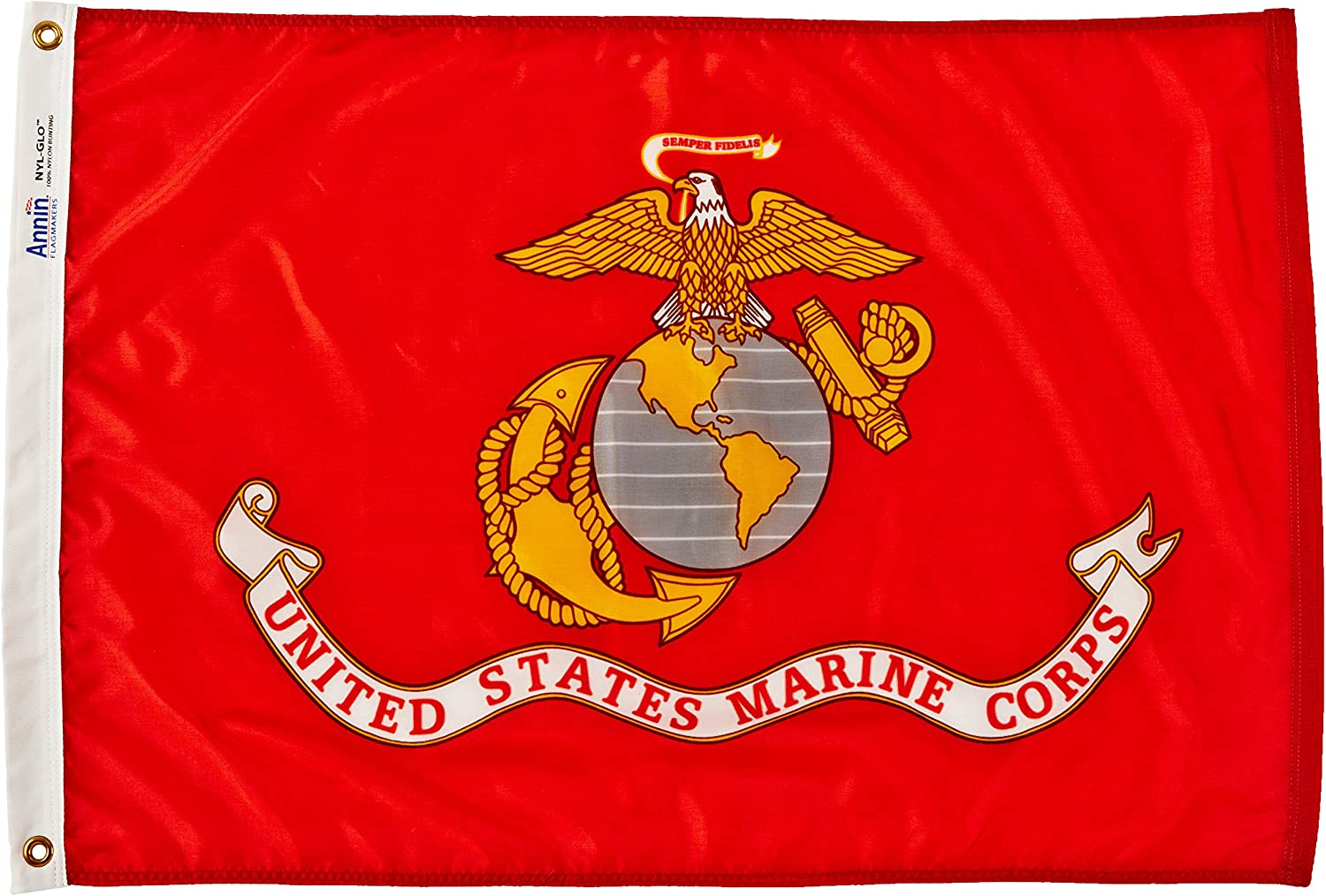 Annin Flagmakers Model 439004 U.S. Marine Corps Military Flag Nylon SolarGuard NYL-Glo, 2x3 ft, 100% Made in USA to Official Specifications. Officially Licensed