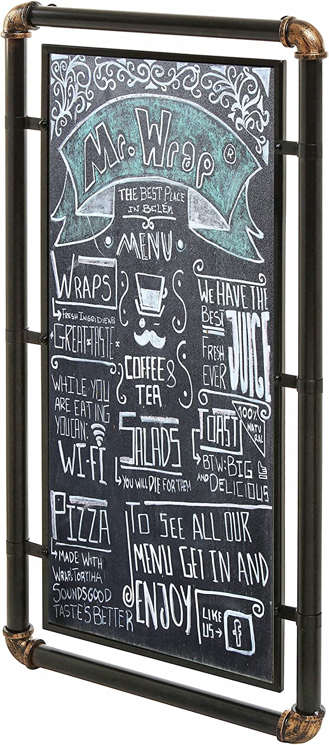 15 x 31 Industrial Style Wall Mounted Chalkboard Sign/Message Board with Modern Metal Pipe Frame, Black