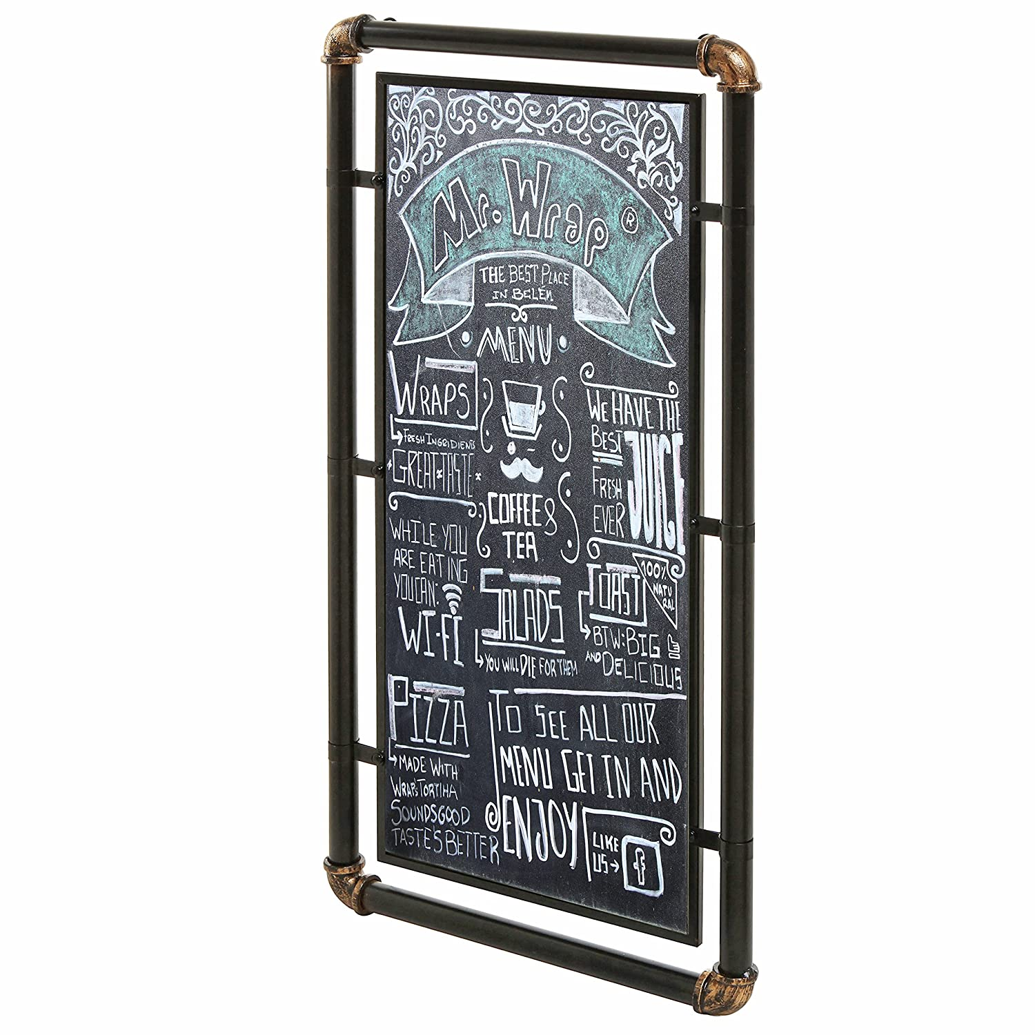 Industrial Style Erasable Chalkboard, Message Board Sign with Modern Metal Pipe Frame, Black MyGift