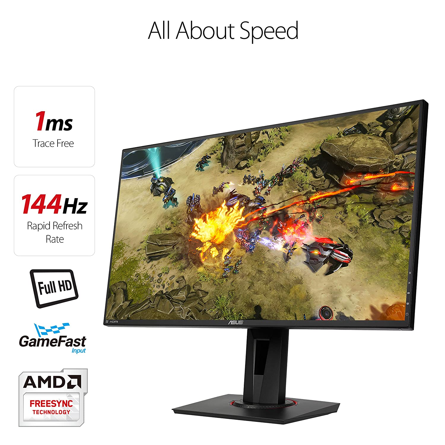 ASUS VG278Q 27 Full HD 1080p 144Hz 1ms Eye Care G-SYNC Compatible Adaptive Sync Gaming Monitor with DP HDMI DVI