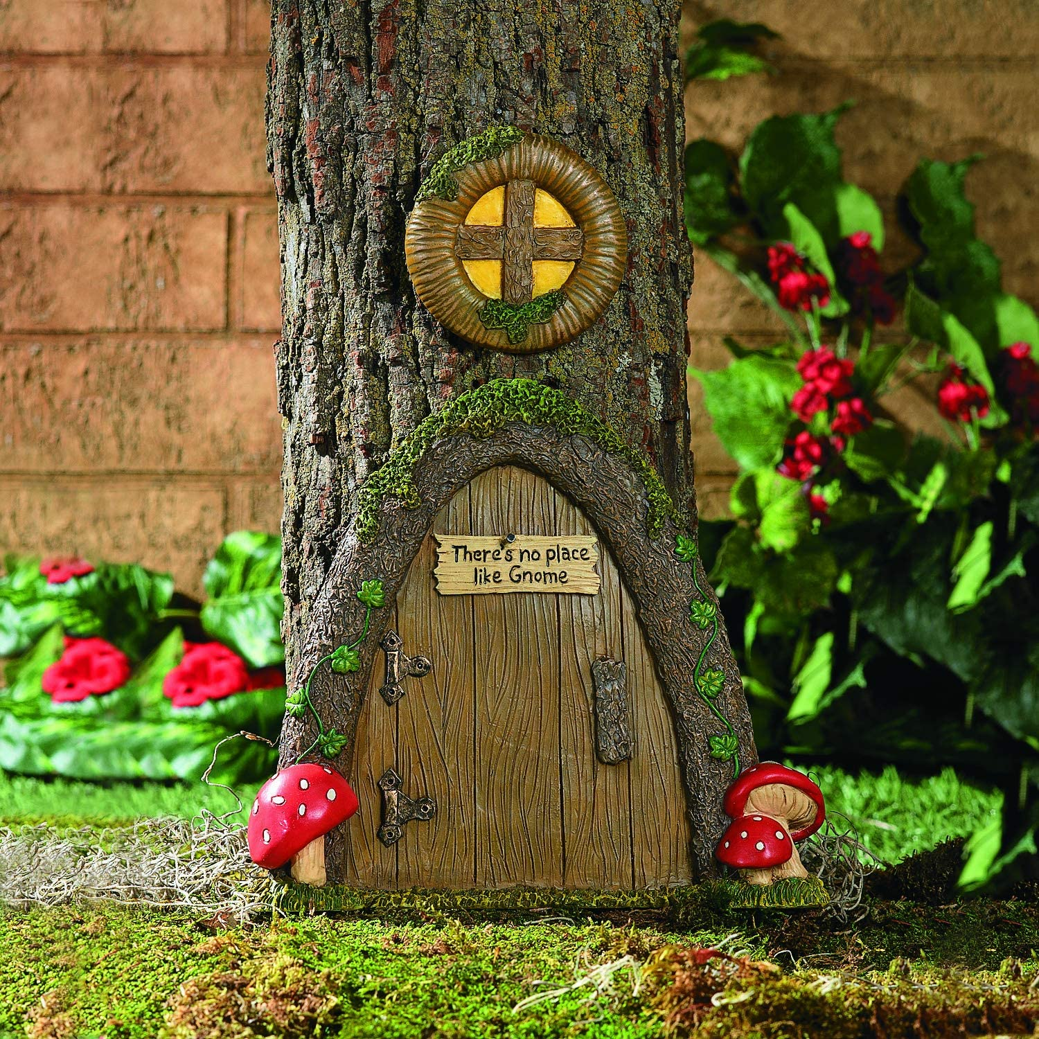 JACK GNOME ON TREE TRUNK GARDEN ORNAMENT HAND PAINTED 1 FOOT TALL!!