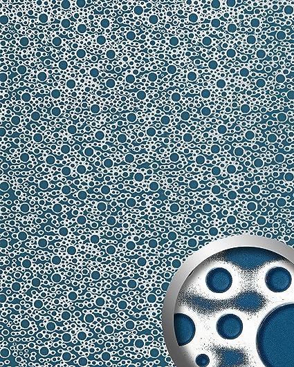 Panel decorativo autoadhesivo de diseño burbujas con relieve 3D WallFace 11712 BUBBLE color azul plata 2