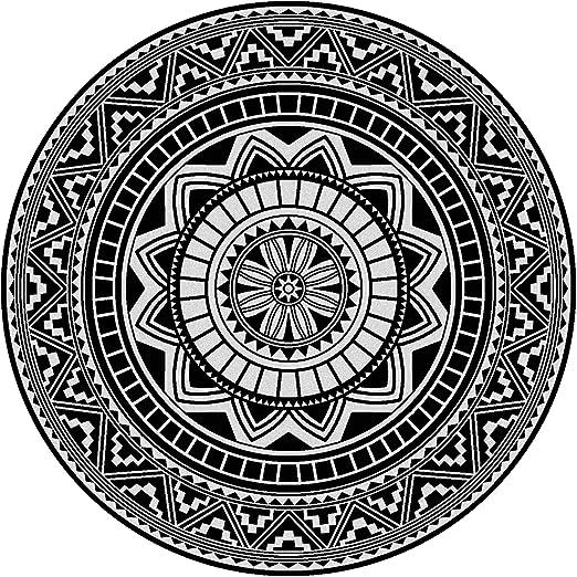 Fouta toalla de playa redonda R180 cm 100% algodón 290 g/m² PELOSA Mosaic Arabesque negro: Amazon.es: Hogar