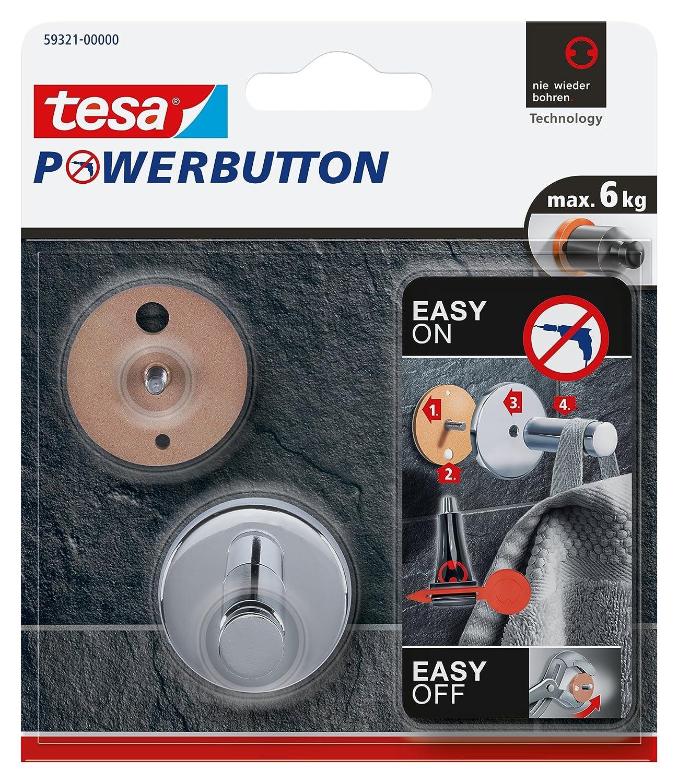 Universal Small Tesa Powerbutton Haken silber-gl/änzend