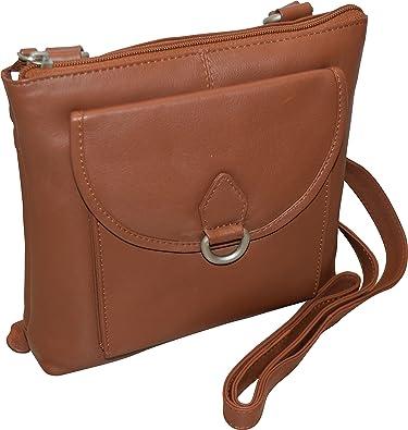 3cc4068f1cdf Paul   Taylor Women s Genuine Leather Multi Pocket Crossbody Bag With  Organizer (Camel)  Handbags  Amazon.com
