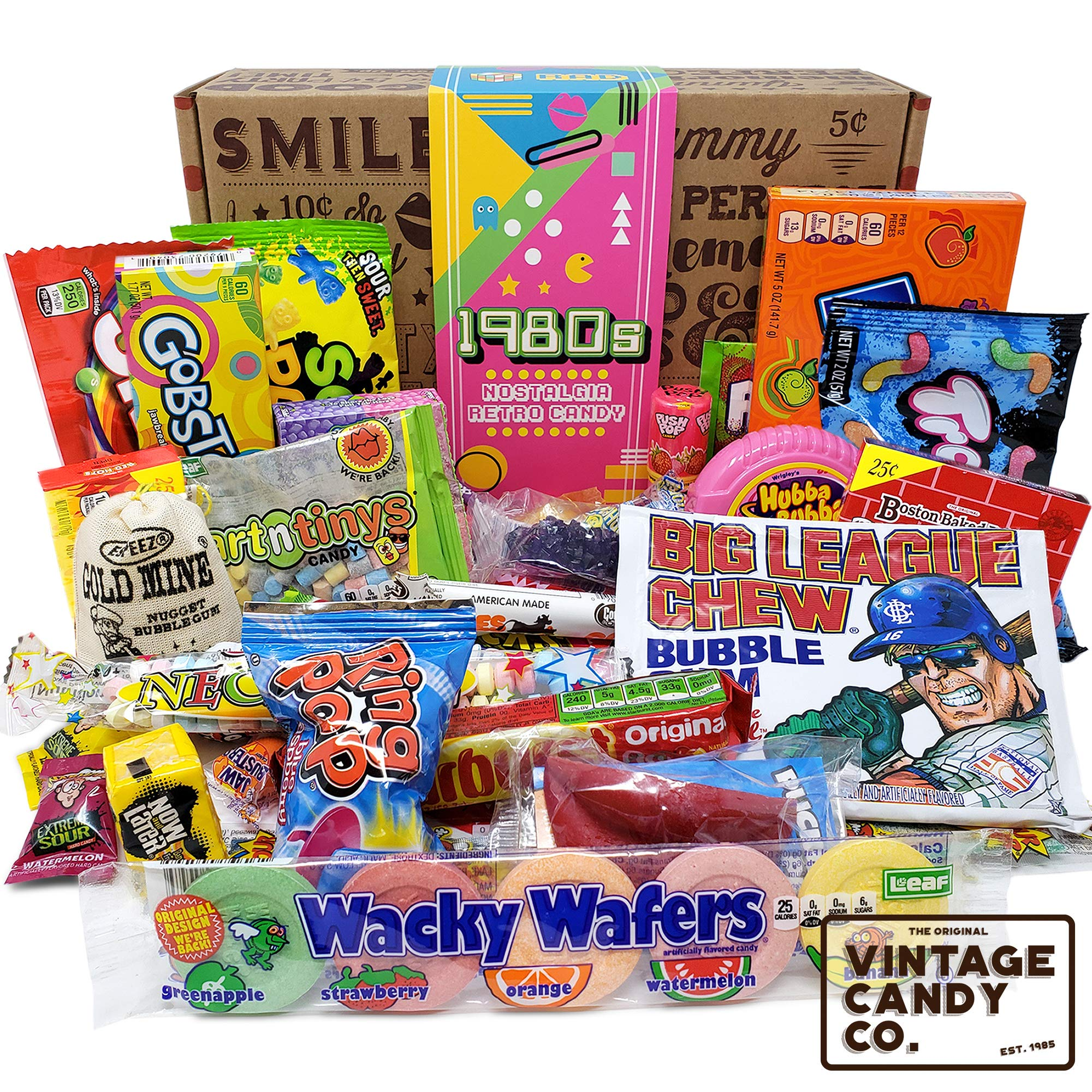 VINTAGE CANDY CO. 1980's RETRO CANDY GIFT BOX - 80s Nostalgia Candies - Flashback EIGHTIES Fun Gag Gift Basket - PERFECT '80s Candies For Adults, College Students, Men or Women, Kids, Teens by Vintage Candy Co.