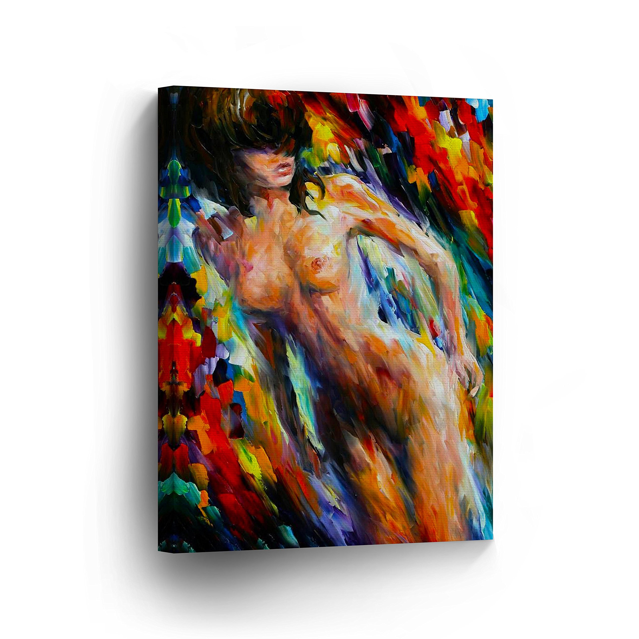 Nude Naked Sexy Woman Girl Lady Colorful Oil Painting CANVAS PRINT Decorative Art Wall Home Artwork / Gallery Wrapped Stretched /Ready to Hang -%100 Handmade in the USA _CA