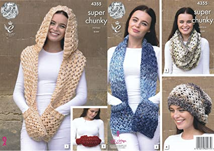Amazon Com King Cole Ladies Super Chunky Knitting Pattern Scarves