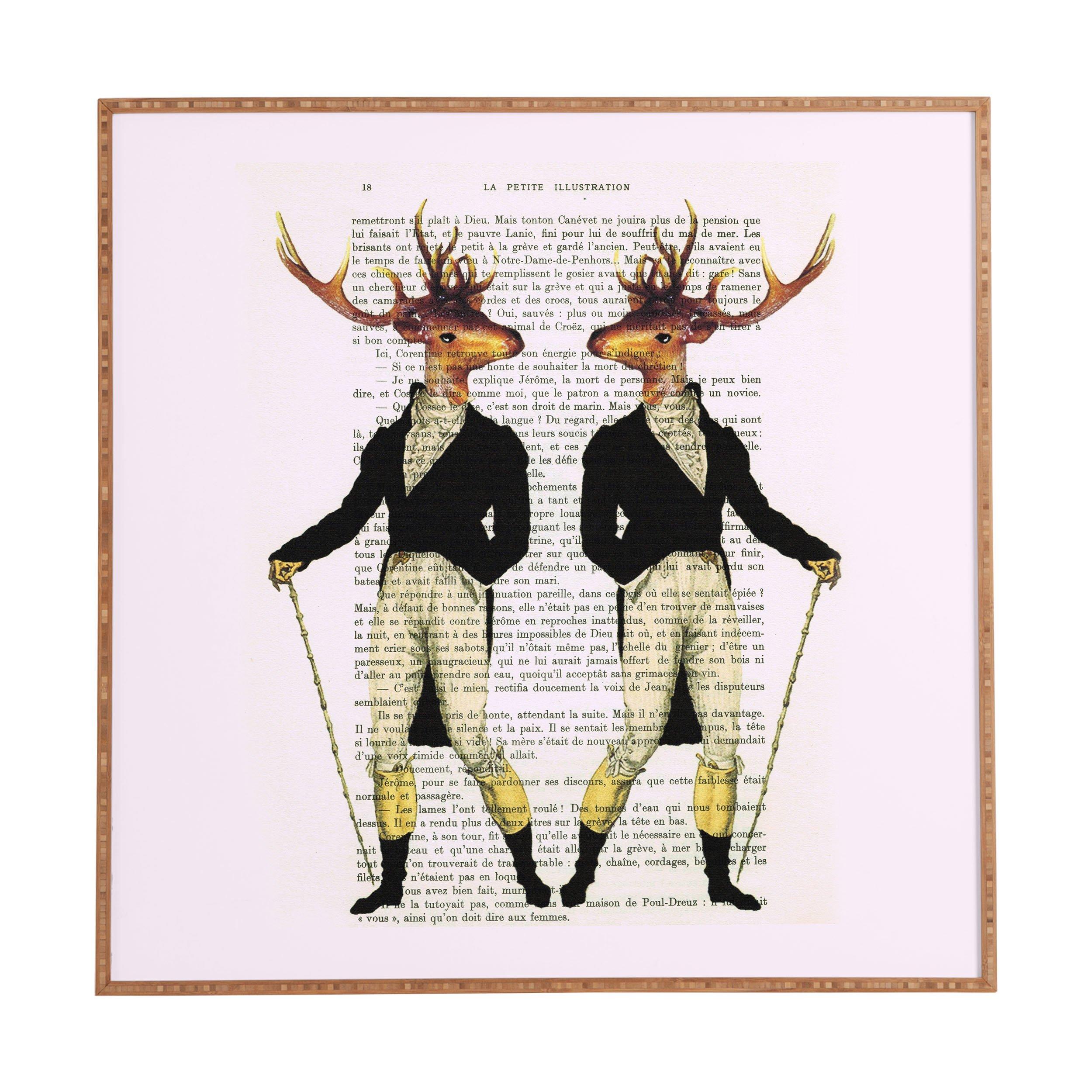 Deny Designs Coco De Paris,  2 Vintage Deer, Framed Wall Art, Large, 30'' x 30''