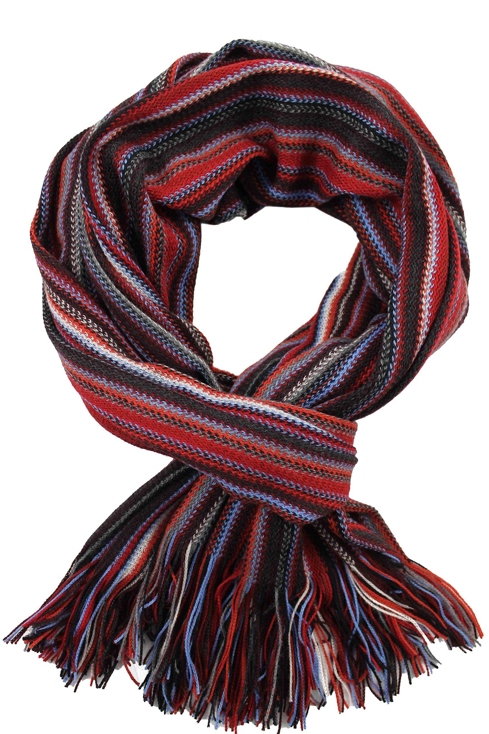Scarf, striped, red - multicolor, 100% wool (Merino)