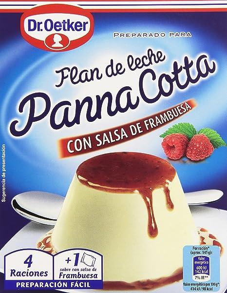 Dr. Oetker - Panna Cotta con salsa de frambuesa - Flan de leche - 110