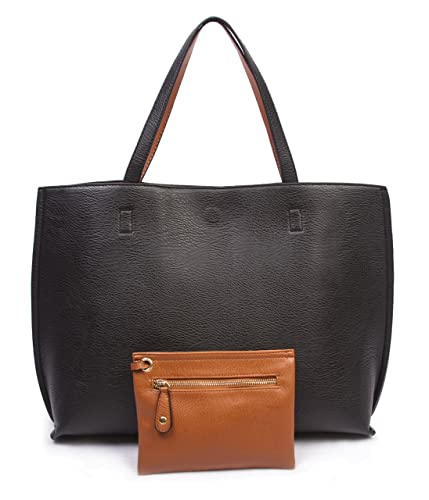 Amazon.com: Overbrooke Reversible Tote Bag, Black & Tan - Large ...