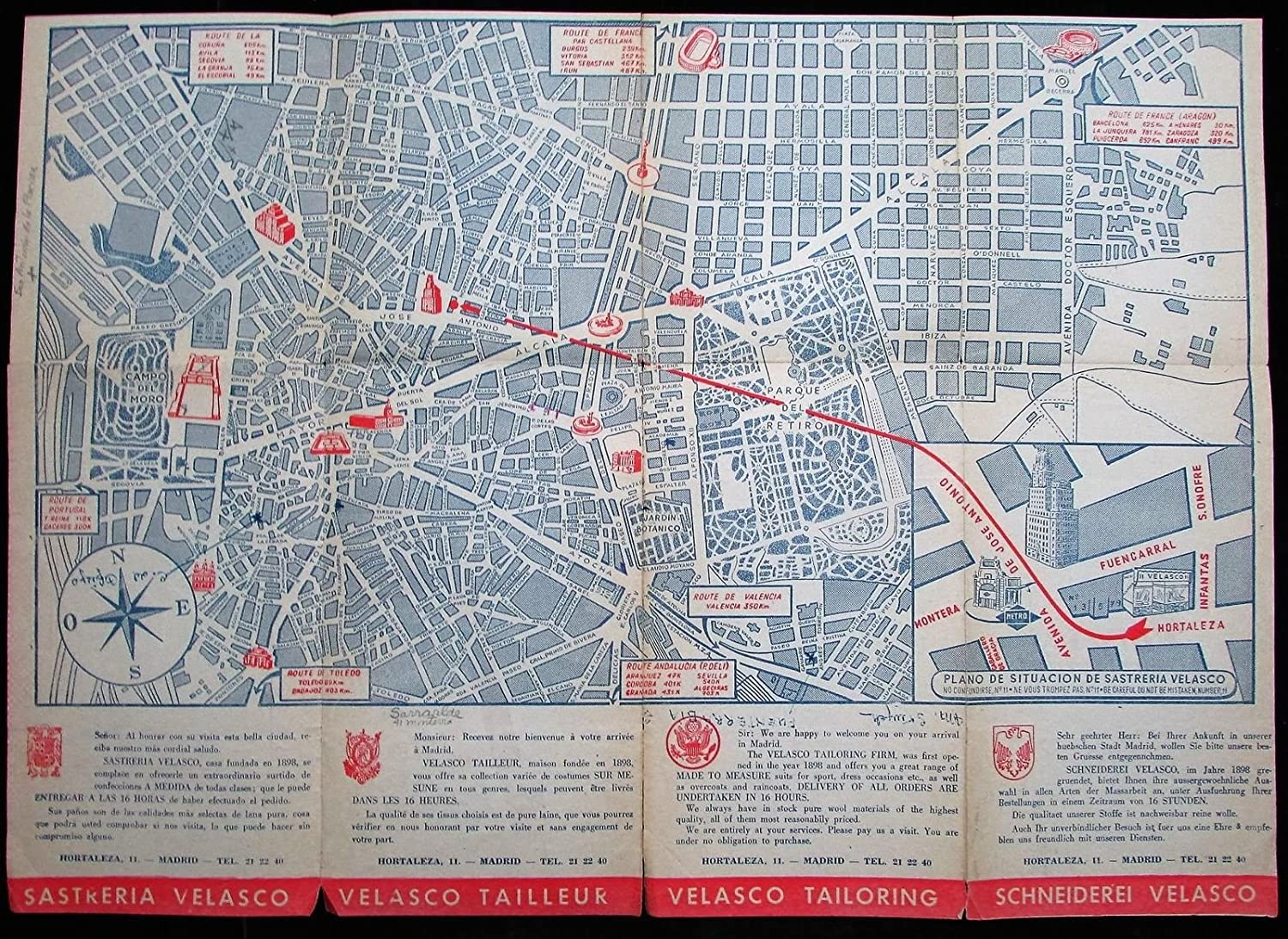Amazon.com: Madrid Spain city map plan c.1930-50s lot of 3 large folding ads views cartoon: Entertainment Collectibles