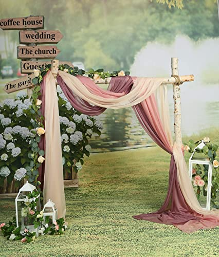 SHERWAY 3 Panels Sheer Wedding Arch Drapes, Party Backdrop Curtain Panels, Ceremony Reception Swag Decoration 27 x 216 Inch, Dusty Rose Nude Mauve