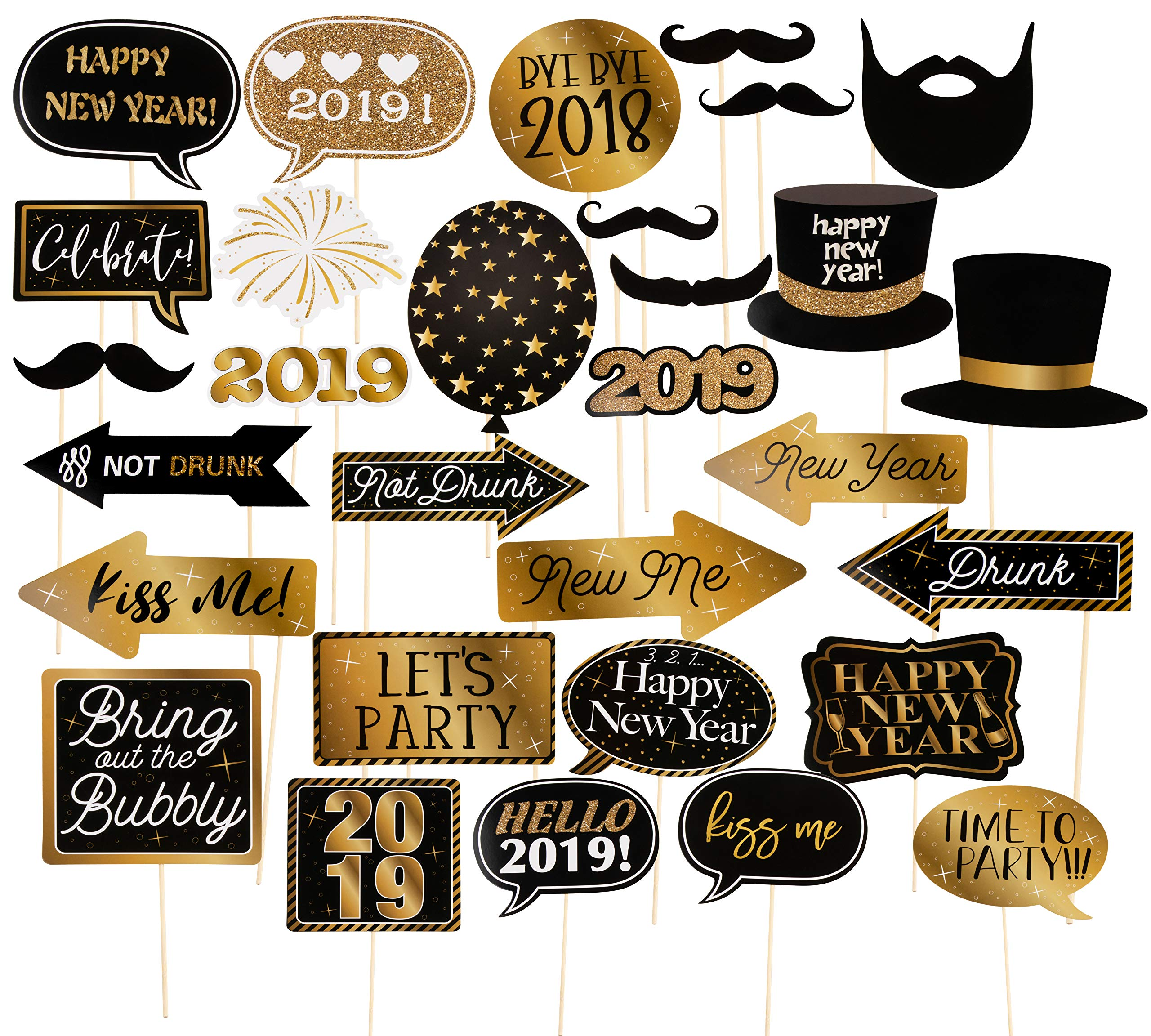 Photo Booth Props 2019 Set 60 Pack New Years Party Supplies Party