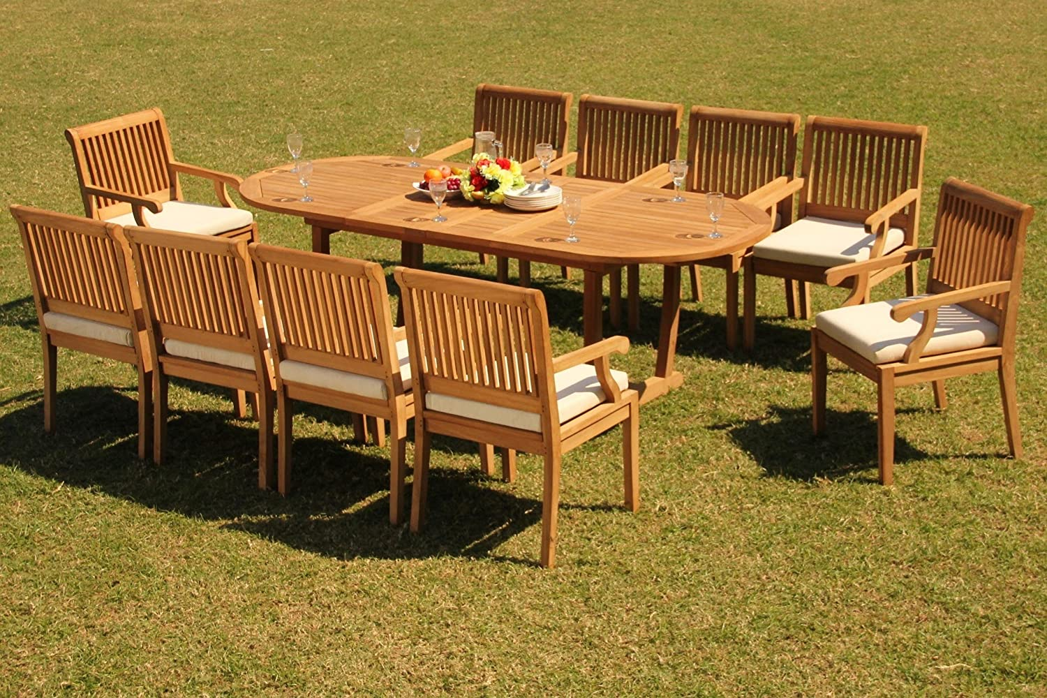 """10 Seat 11 Piece Grade-A Teak Wood Dining Set: 94"""" Mas Oval Trestle Leg Table and 10 Sack Arm Chairs #WHDSSK13"""