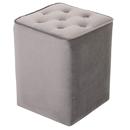 BIRDROCK HOME Tufted Grey Velvet Ottoman Foot Stool – Square – Soft Compact Padded Stool – Great for The Living Room, Bedroom and Kids Room – Upholstered Small Furniture