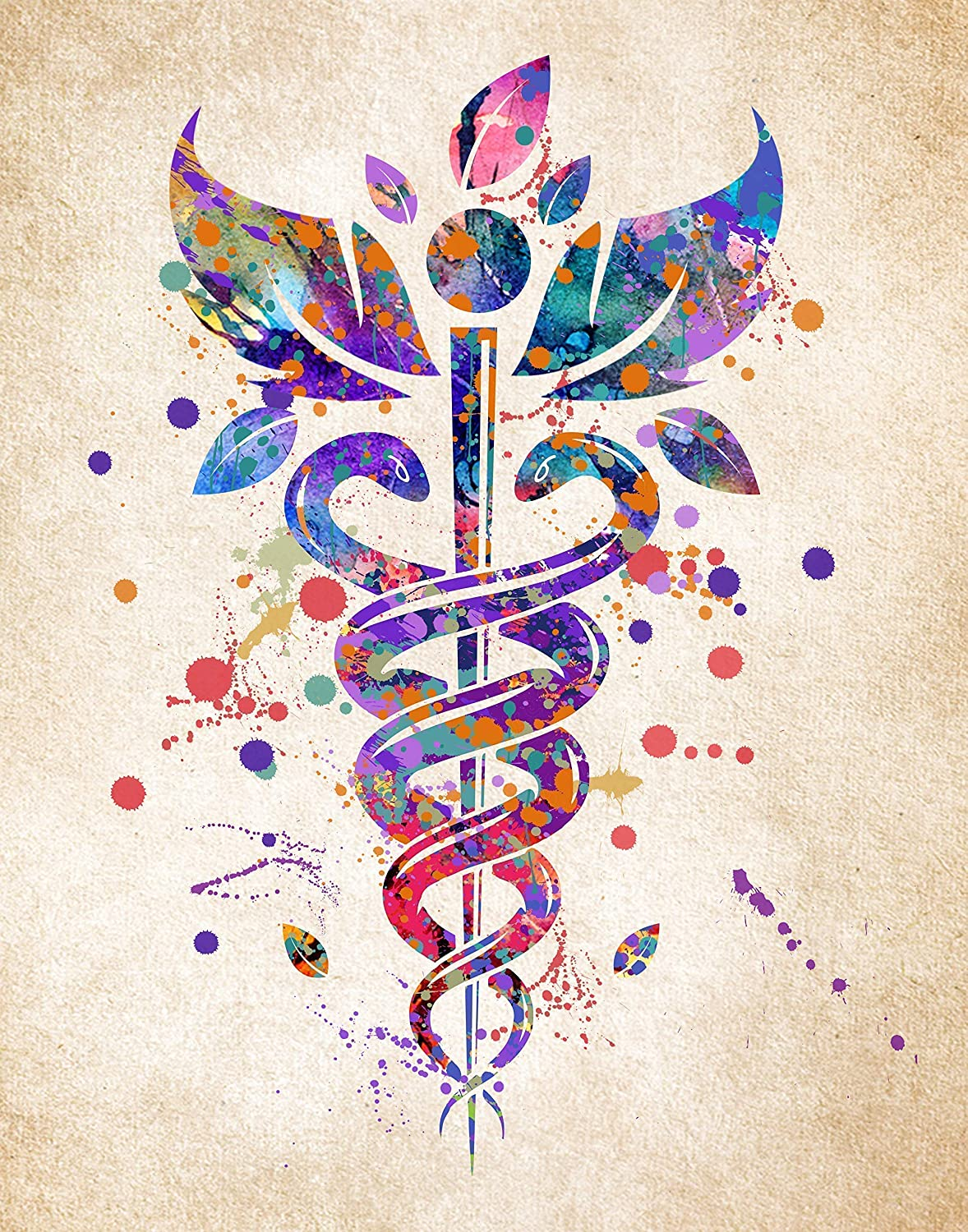 Caduceus Medical Symbol Wall Art, Ideal Gift for Medical or School Student, Doctorate or Nursing Graduation, Decor for a Hospital, Medical or Doctor Office, 11inch x 14inch By H+CO Inspired