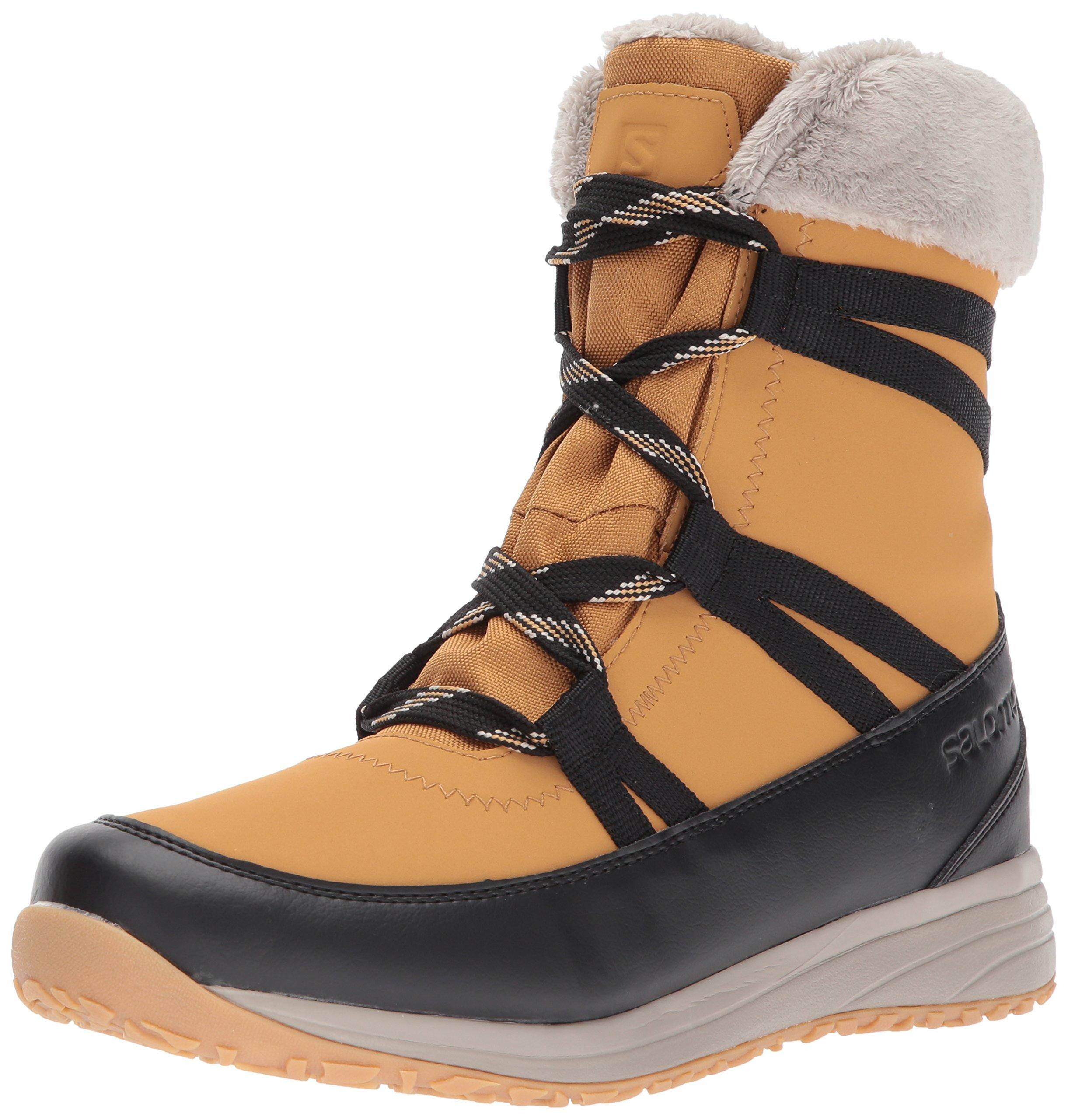 Salomon Women's Heika LTR CS Waterproof Snow Boot, Camel Gold Leather/Black/Vintage Kaki, 5 M US