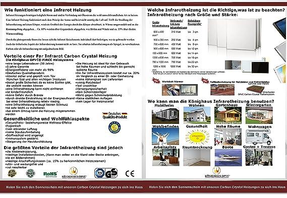 Fern Infrarot Heizung 600 Watt mit Thermostat ✓ GS Tüv ✓ Deutscher ...