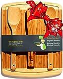 ♻ Bamboo Cutting Board Housewarming & Wedding Gift Set - With Bonus 3-Piece Kitchen & Cooking Utensils - Wooden Spoon, Salad Tongs & Wood Spatula - Greener Chef