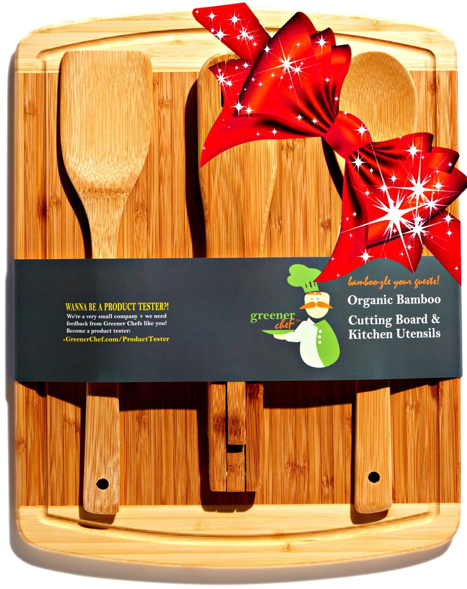 Bamboo Cutting Board 14 X 11 Bonus 3 Pc Utensils Housewarming Wedding Mother