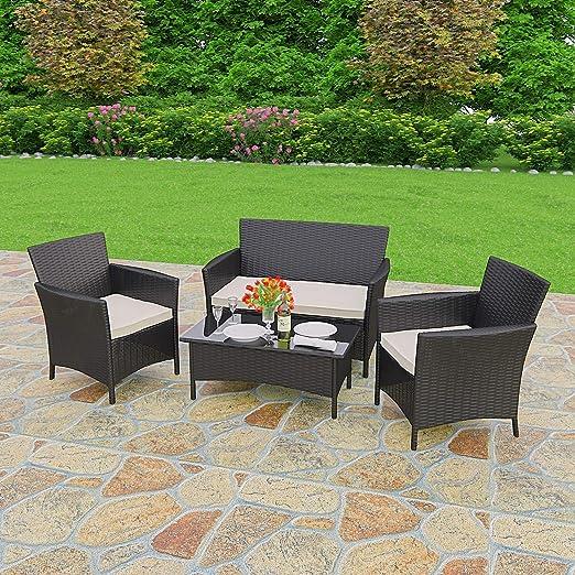 Muebles de jardín de mimbre color negro 4 piezas – Sofá + mesa + 2 Sillas: Amazon.es: Hogar