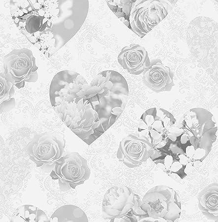 Bhf Fd41914 Novelty Hearts Sidewall Wallpaper Grey 2 Piece