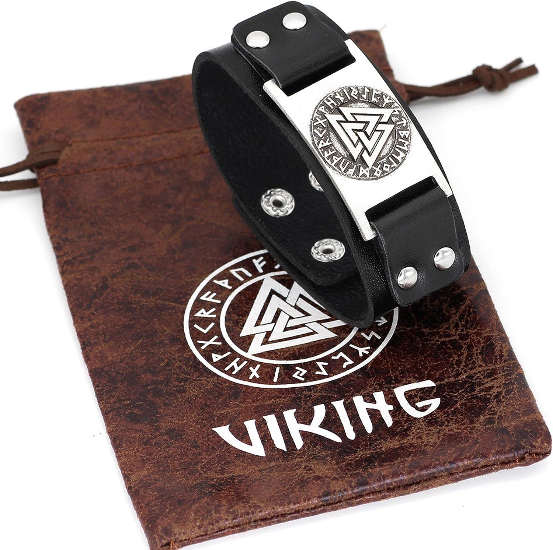 /Arbre de Vie/ /Valknut/ /Dragon/ 24/cm Couleur argent /Noeud Celtique 19 Viking r/églable Cuir Bracelet Viking T/ête de Loup/