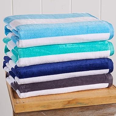 Great Bay Home 4-Pack 100% Cotton Plush Cabana Stripe Velour Beach Towel (30x60) Brand. (Multi-Color 4)