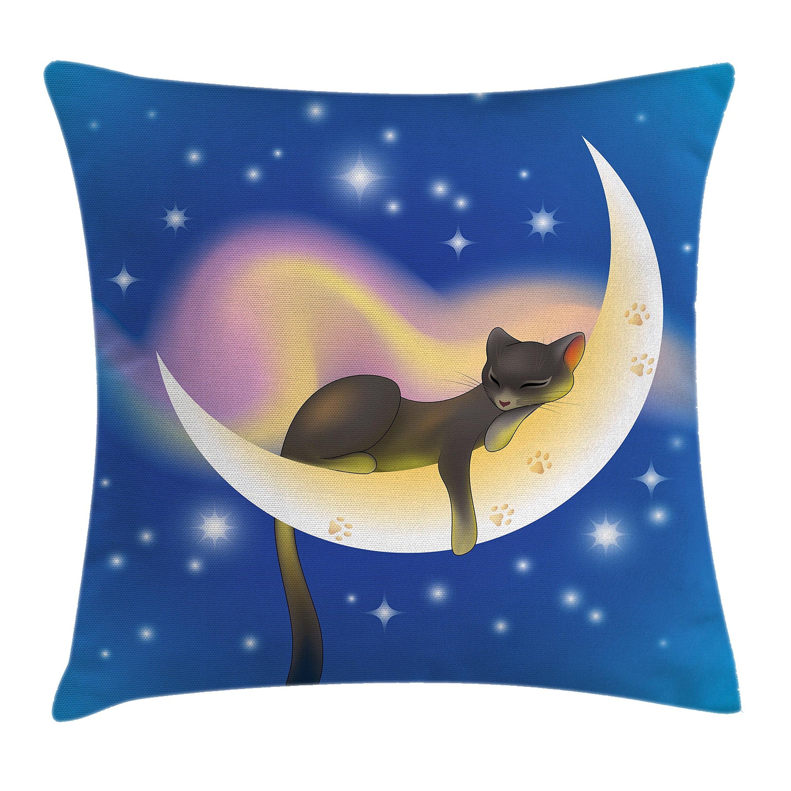 Ambesonne Cat Throw Pillow Cushion Cover, Cat Sleeping on Crescent Moon Stars Night Sweet Dreams Themed Kids Nursery Design, Decorative Square Accent Pillow Case, 20 X 20 Inches, Blue Yellow