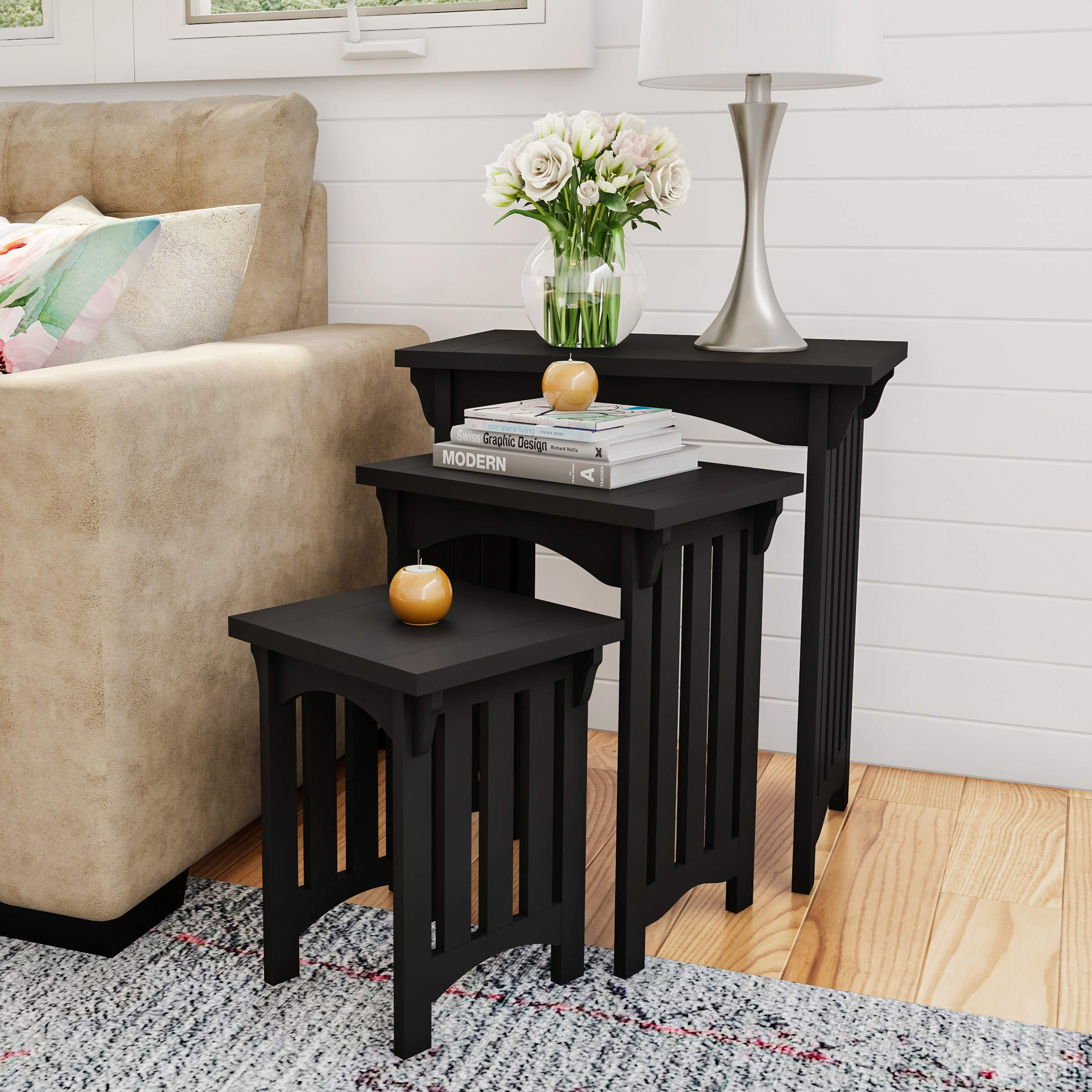 Home 80-FNT-3 Lavish Nesting Set of 3, Traditional with Mission Style Legs for Living Room Coffee Tables or Nightstands Accent Furniture (Black) by HOME