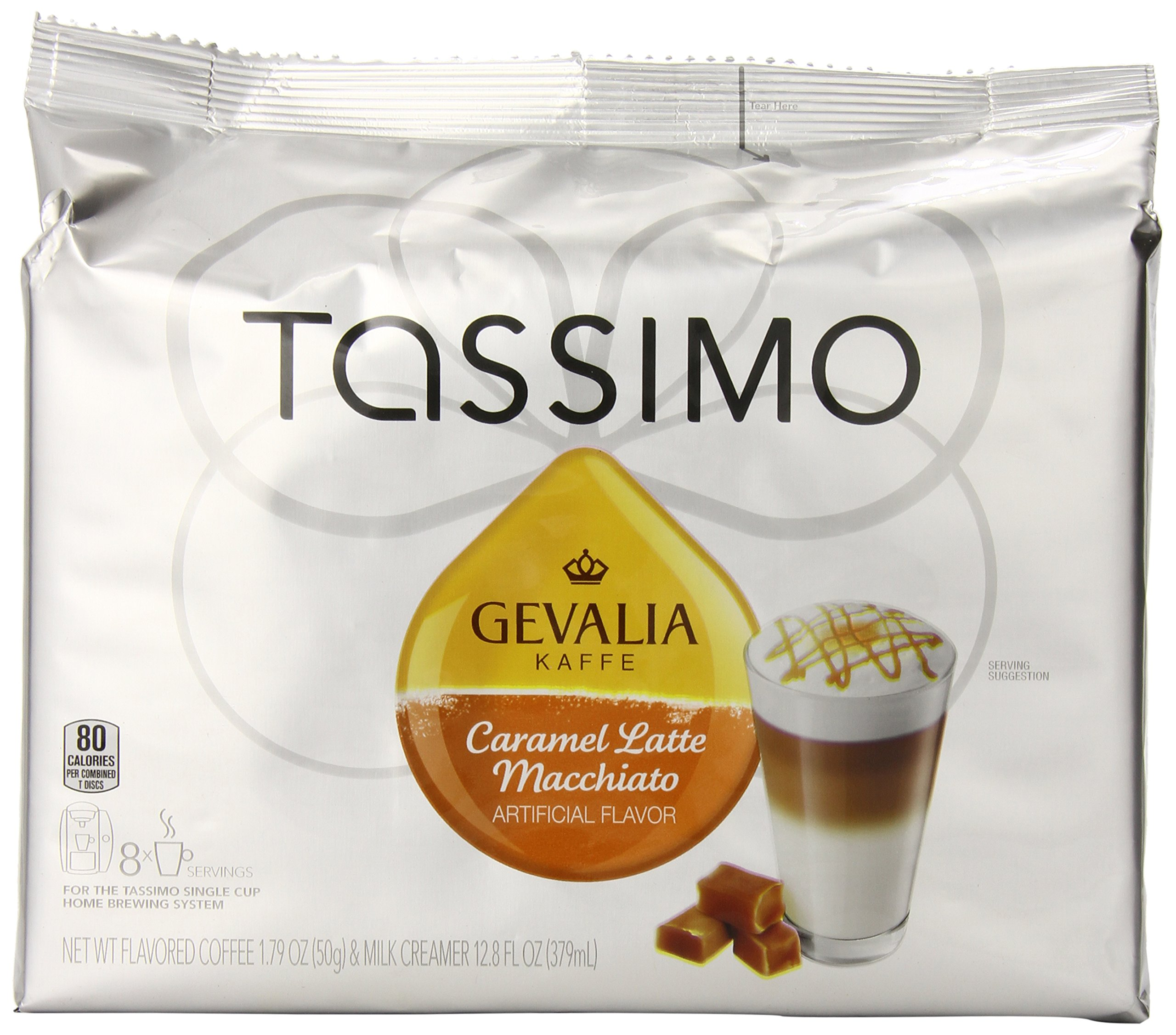 Gevalia Caramel Latte Macchiato Coffee, T-Discs for Tassimo Brewing Systems, 8 Count