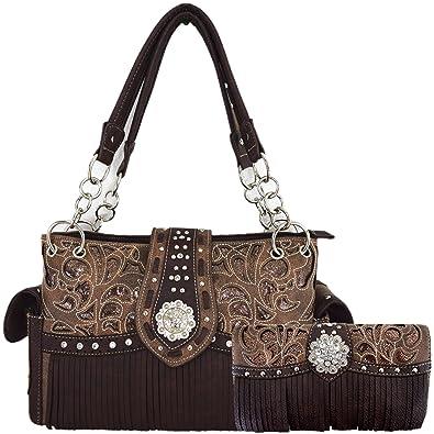 Amazon.com  Western Style Fringe Laser Cut Purse Concealed Carry Handbags  Women Totes Country Shoulder Bag Wallet Set (Brown Set)  Shoes 1e63e0ee78ac8