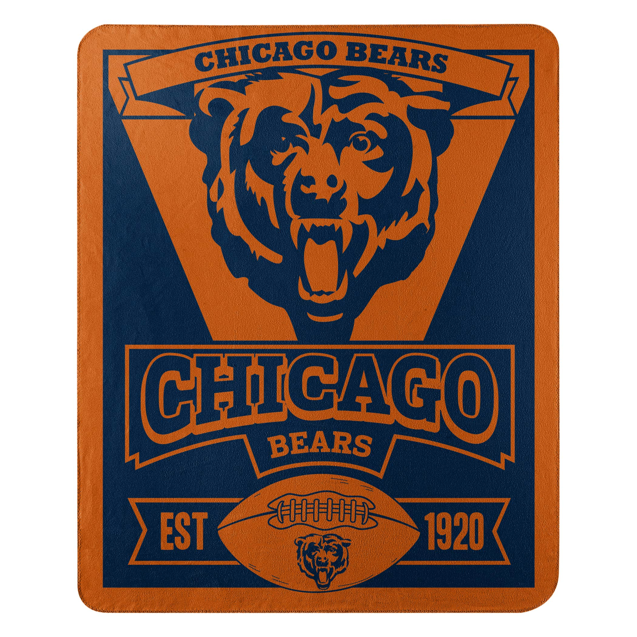 The Northwest Company Officially Licensed NFL Chicago Bears Marque Printed Fleece Throw Blanket, 50'' x 60'', Multi Color by The Northwest Company