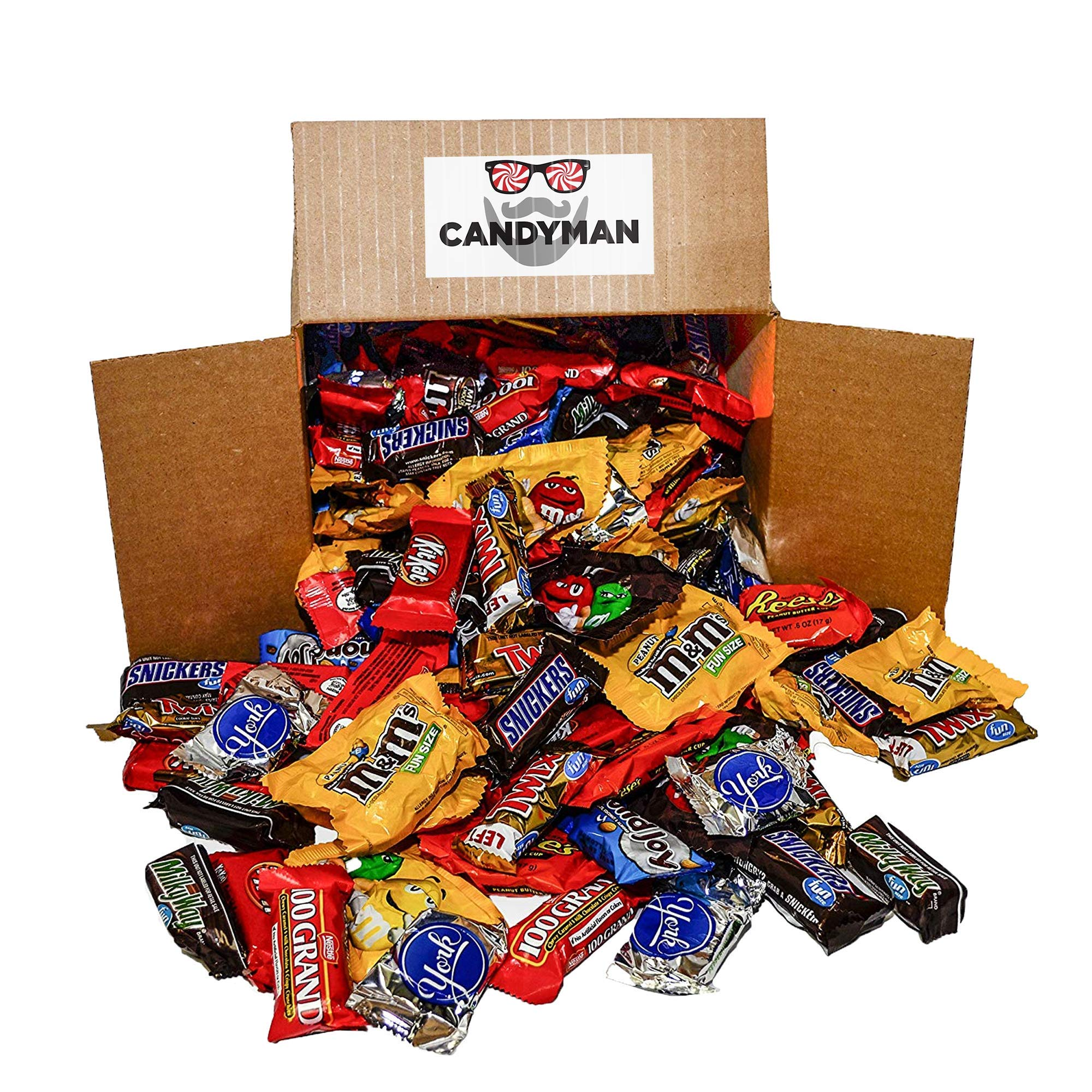 Chocolate Candy 150 pieces (5.6 lbs) Variety Pack Hersheys Nestles Reese's Snickers York Peppermint Almond Joy Kit Kat, M&Ms Peanut and Milk Chocolate, 100 Grand Bars, Milky Way by CANDYMAN