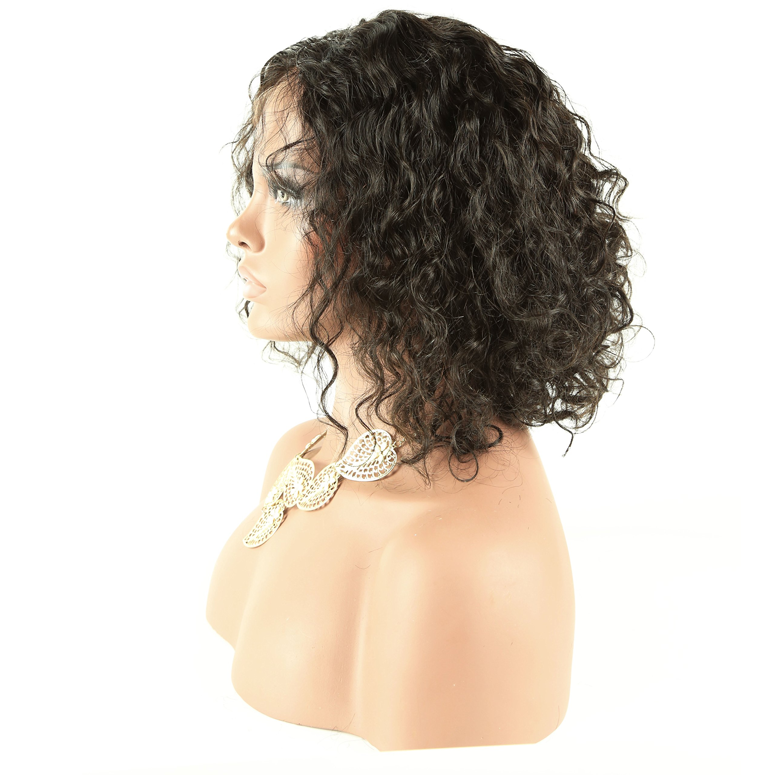 150% Density Brazilian Short Curly Bob Human Hair Lace Front Wigs with Baby Hair for Black Women Natural Color 10 inch