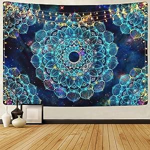 Sevenstars Fantasy Mandala Tapestry Hippie Bohemian Tapestry Blue Floral Tapestry Mysterious Flower Tapestry for Room