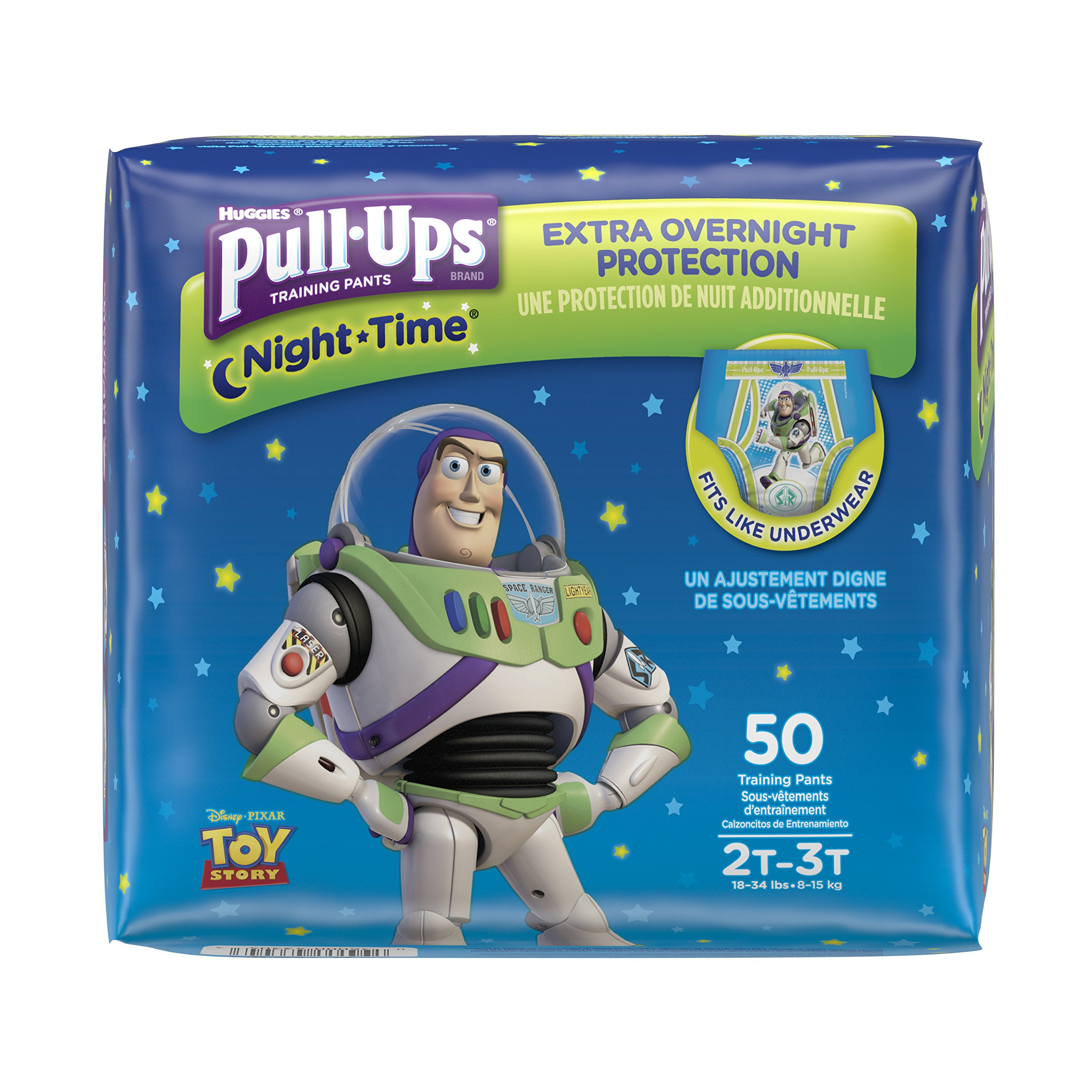 Pull-Ups Night-Time, 2T-3T (18-34 lb.), 50 Ct. (Pack of 2), Potty Training Pants for Boys, Disposable Potty Training Pants for Toddler Boys (Packaging May Vary)