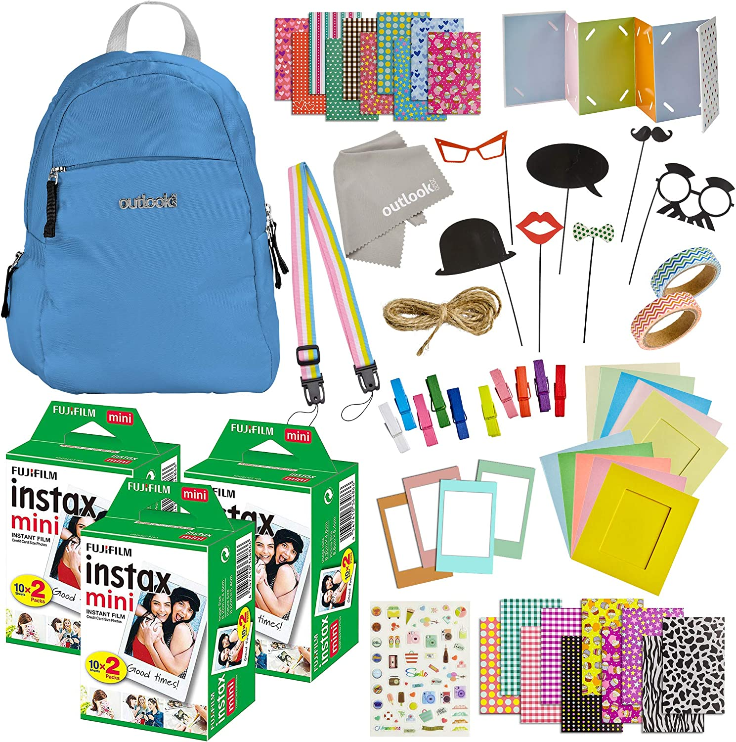 Lens Cleaning Cloth Stickers Backpack Shoulder Bag Photo Frames 100 Piece Instax Mini 9 Camera Accessories Washi Tape Album Strap Travel Kit Bundle 60 Sheets Instant Film Cobalt Blue