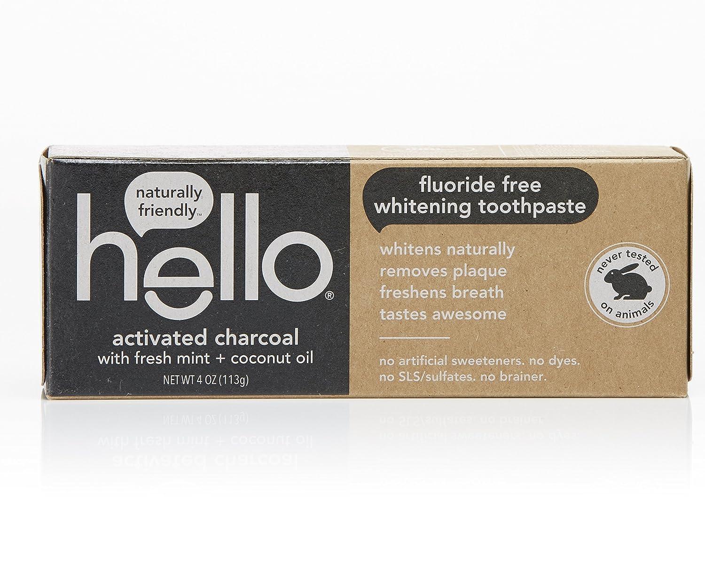 Hello Oral Care フッ化物無料歯磨き粉ホワイトニング活性炭歯、4オンス B076B8PX14