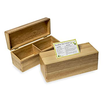 Amazon.com: Double-File Wooden Recipe Box Holds 4 x 6 Inch Cards ...