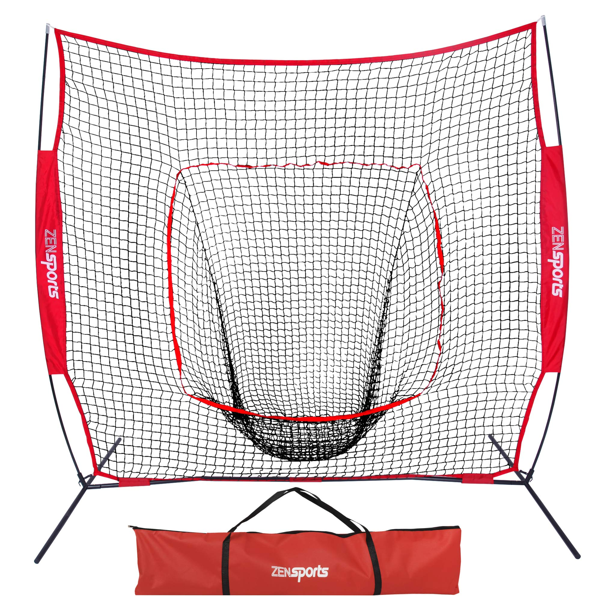 ZENY 7'×7' Baseball Softball Practice Net Hitting Batting Catching Pitching Training Net w/Carry Bag & Metal Bow Frame, Backstop Screen Equipment Training Aids by ZENY