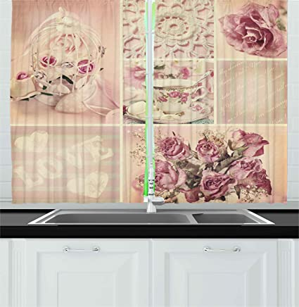 Ambesonne Shabby Chic Kitchen Curtains, Grandmother Mothers Day Vintage  Themed Lace Cage Cups Flowers, Window Drapes 2 Panels Set for Kitchen Cafe,  55 ...