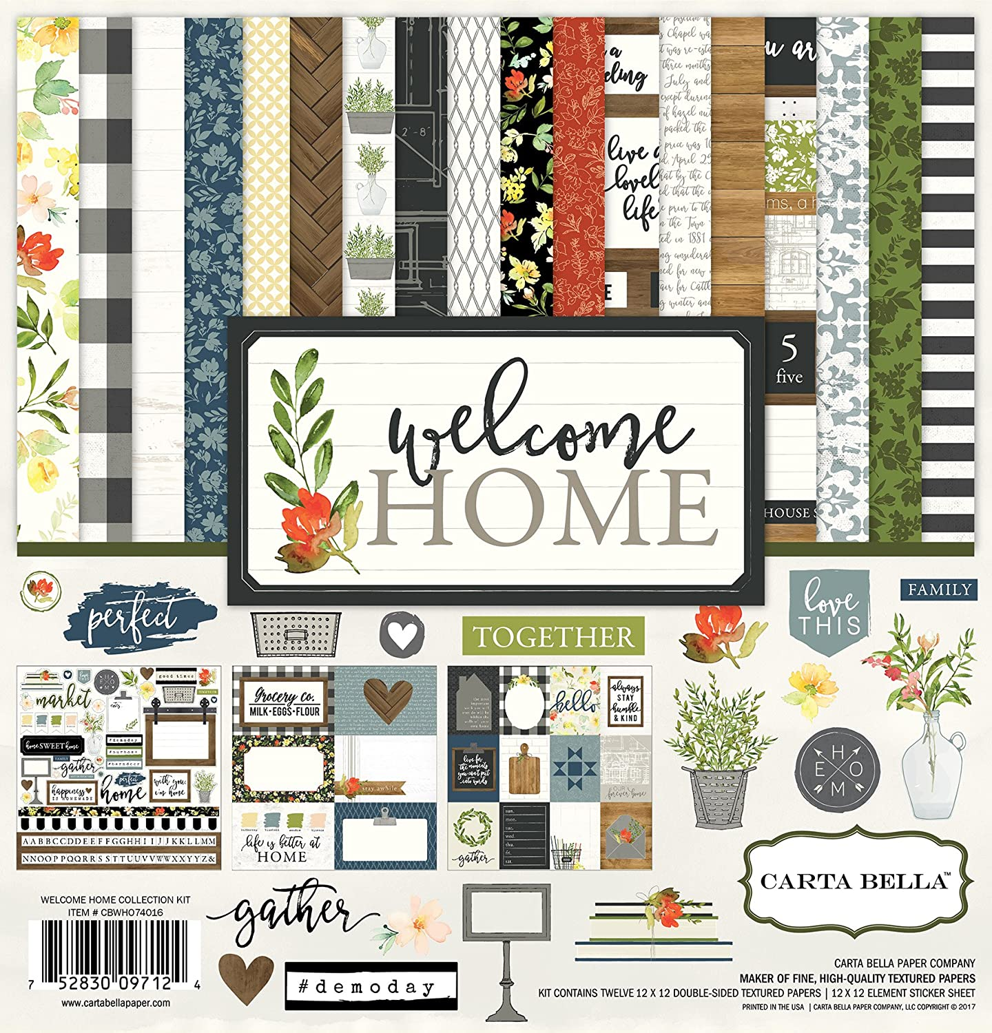 Carta Bella Paper Collection kit, Welcome Home, 12-x-12-inch Echo Park Paper Company CBWHO74016