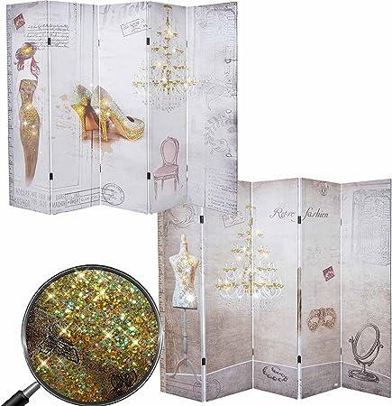 Mendler Paravento divisore doppia immagine 4 pannelli T234 160x180cm boudoir